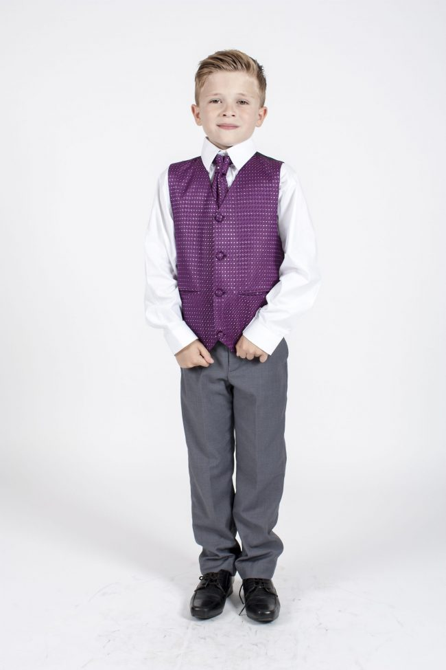 5 piece grey/ purple diamond tailcoat -1370