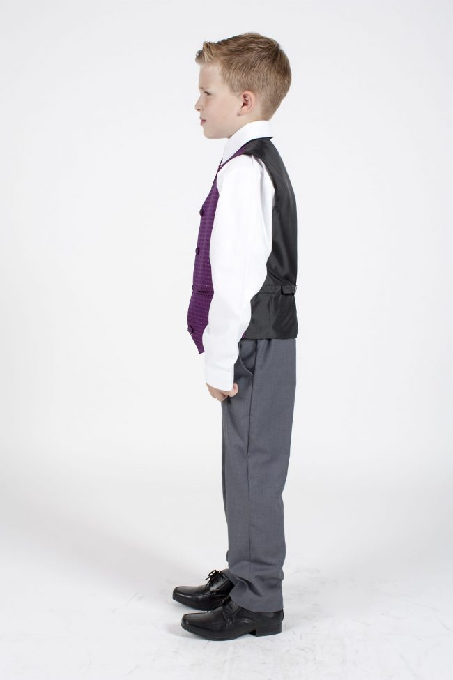 5 piece grey/ purple diamond tailcoat -1372