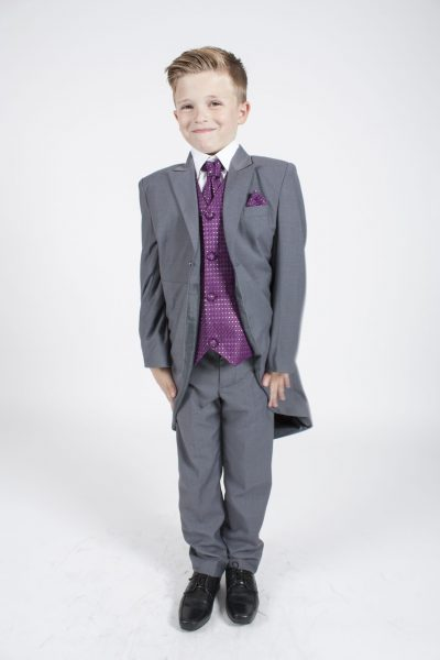 5 piece grey/ purple diamond tailcoat -0