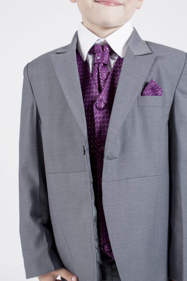 5 piece grey/ purple diamond tailcoat -1366