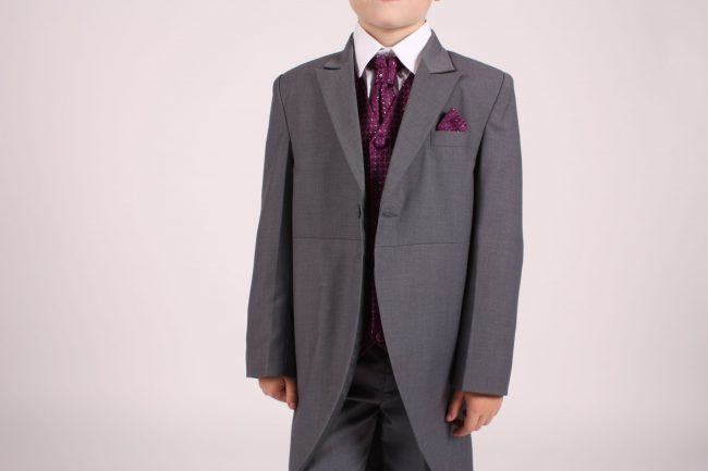 5 piece grey/ purple diamond tailcoat -1367