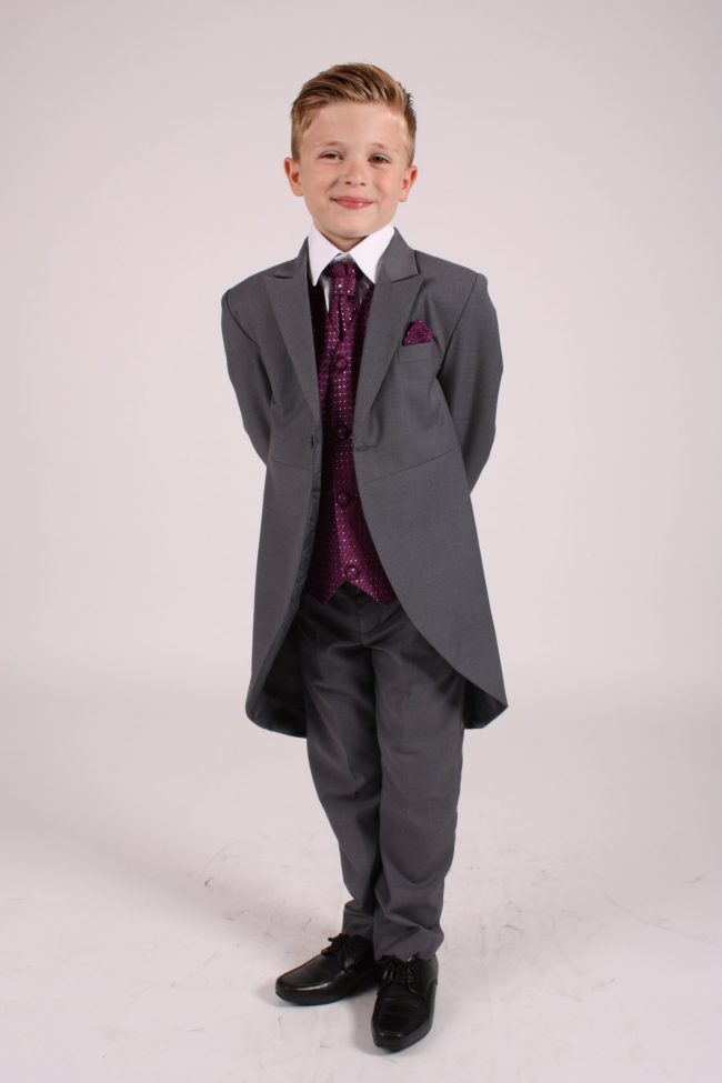 5 piece grey/ purple diamond tailcoat -1368