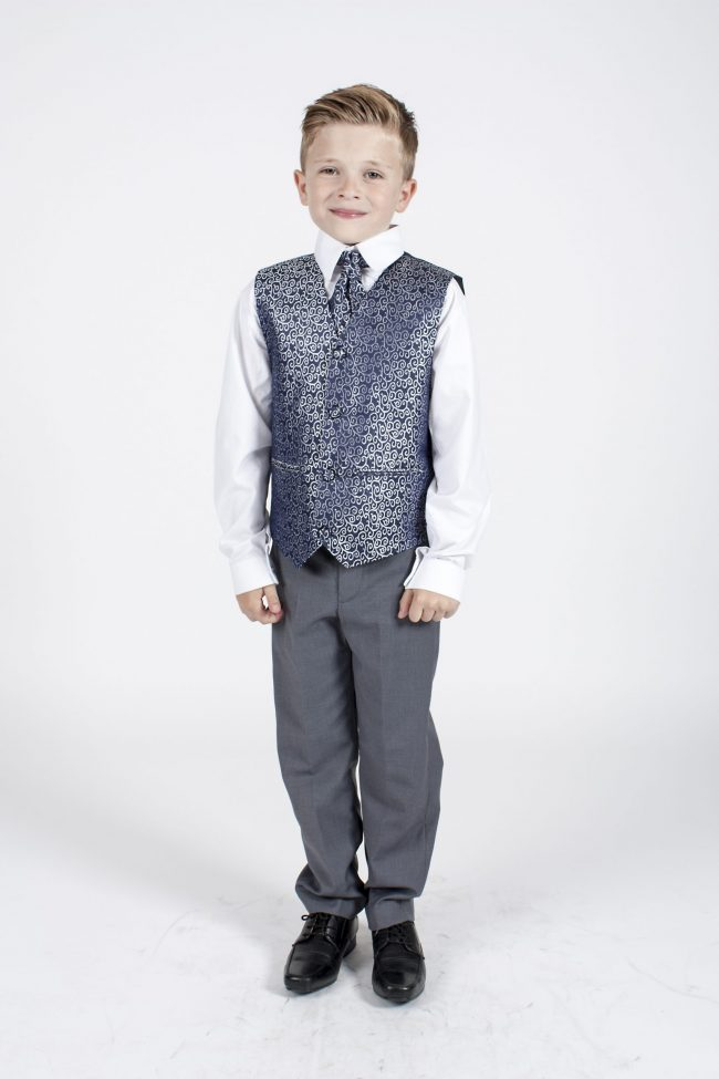 5 piece grey/ navy swirl tailcoat -1351