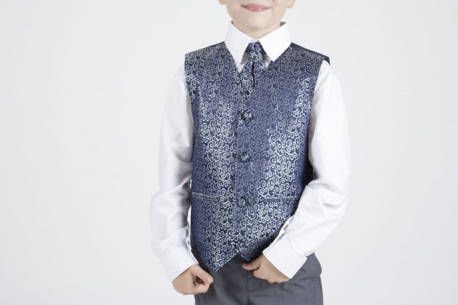 5 piece grey/ navy swirl tailcoat -1348