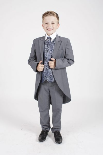 5 piece grey/ navy swirl tailcoat -0