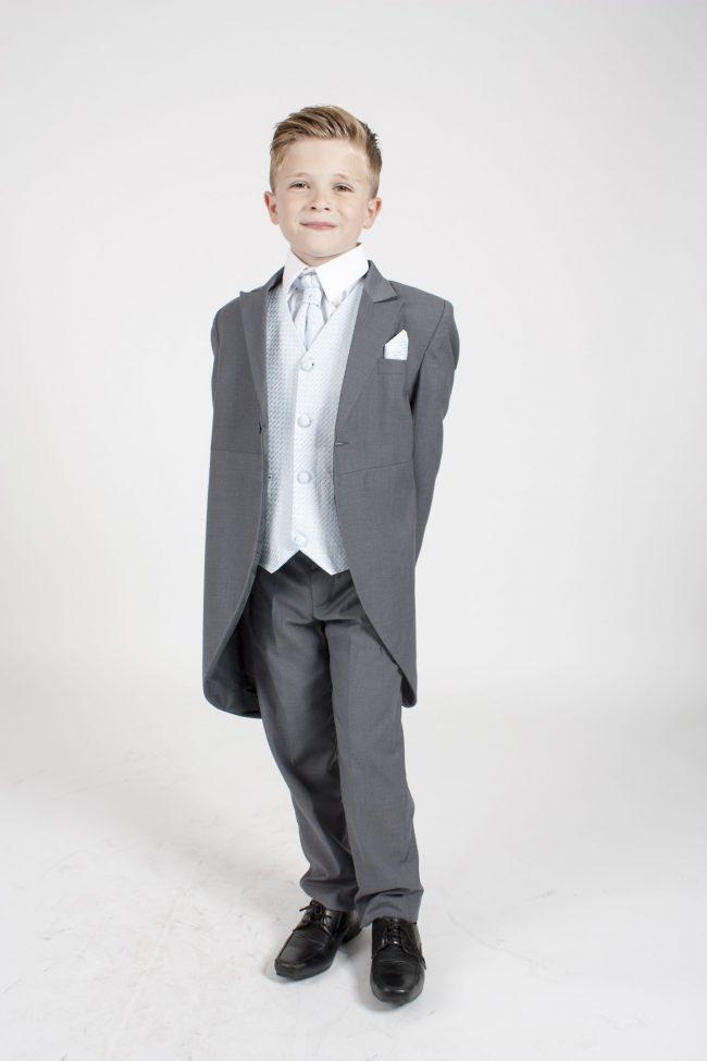 5 piece grey/blue diamond tailcoat -1283