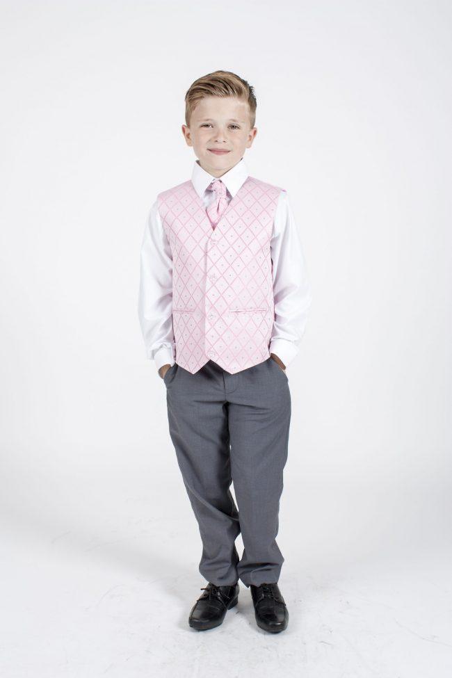 5 piece grey/pink dobby tailcoat -1360
