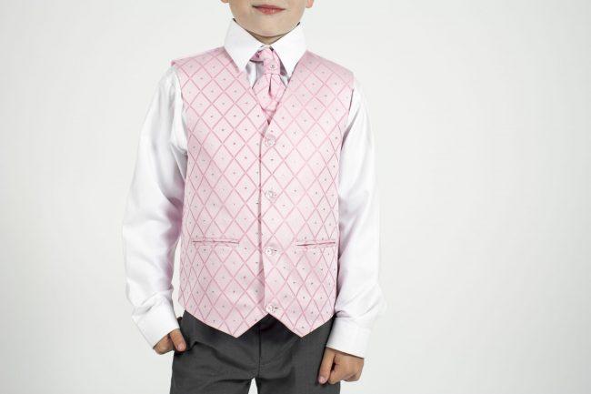 5 piece grey/pink dobby tailcoat -1363