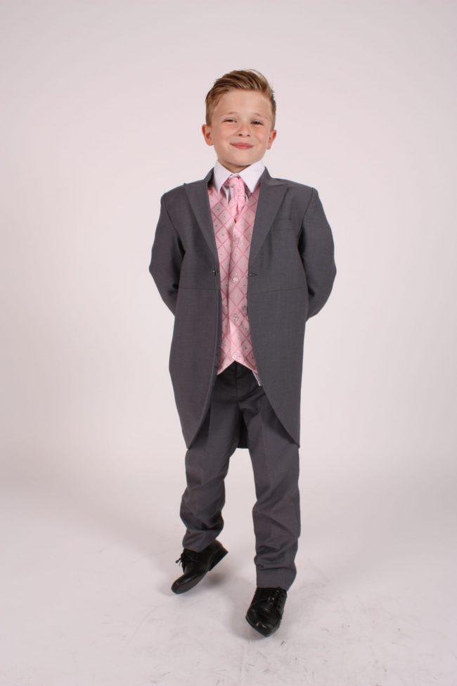 5 piece grey/pink dobby tailcoat -1364