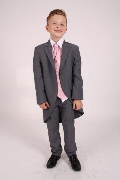 5 piece grey/pink dobby tailcoat -0