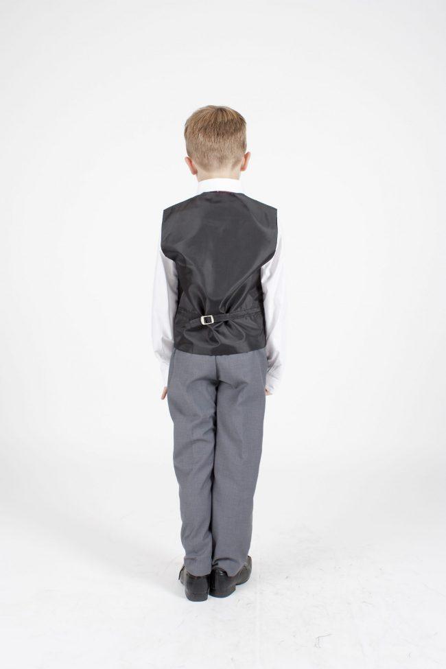 5 piece grey/ wine dobby tailcoat -1388