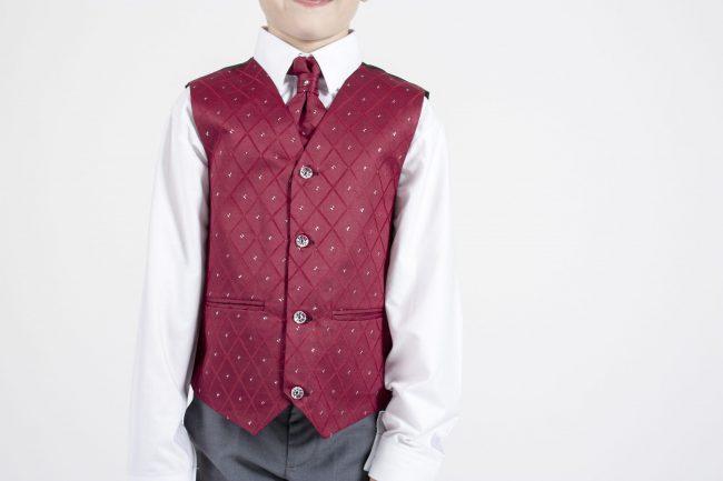 5 piece grey/ wine dobby tailcoat -1386