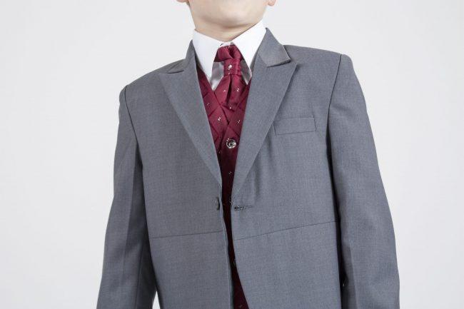 5 piece grey/ wine dobby tailcoat -1387