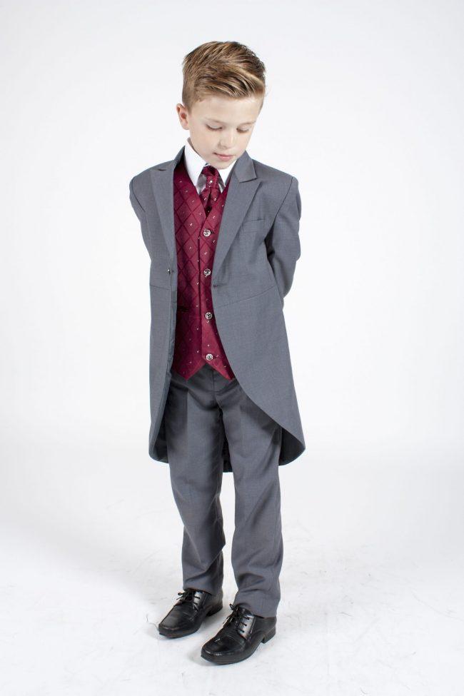 5 piece grey/ wine dobby tailcoat -0