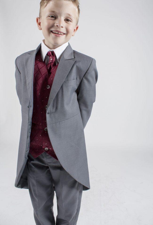 5 piece grey/ wine dobby tailcoat -1389