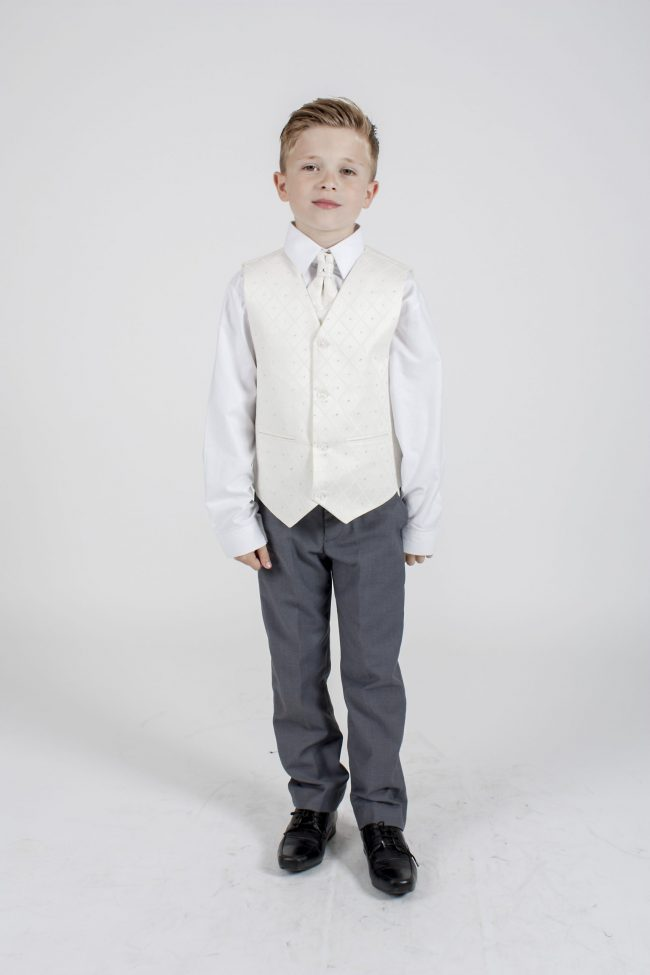 5 piece grey/cream Dobby tailcoat -1316