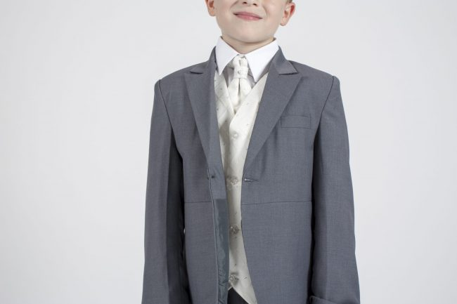 5 piece grey/cream Dobby tailcoat -1317