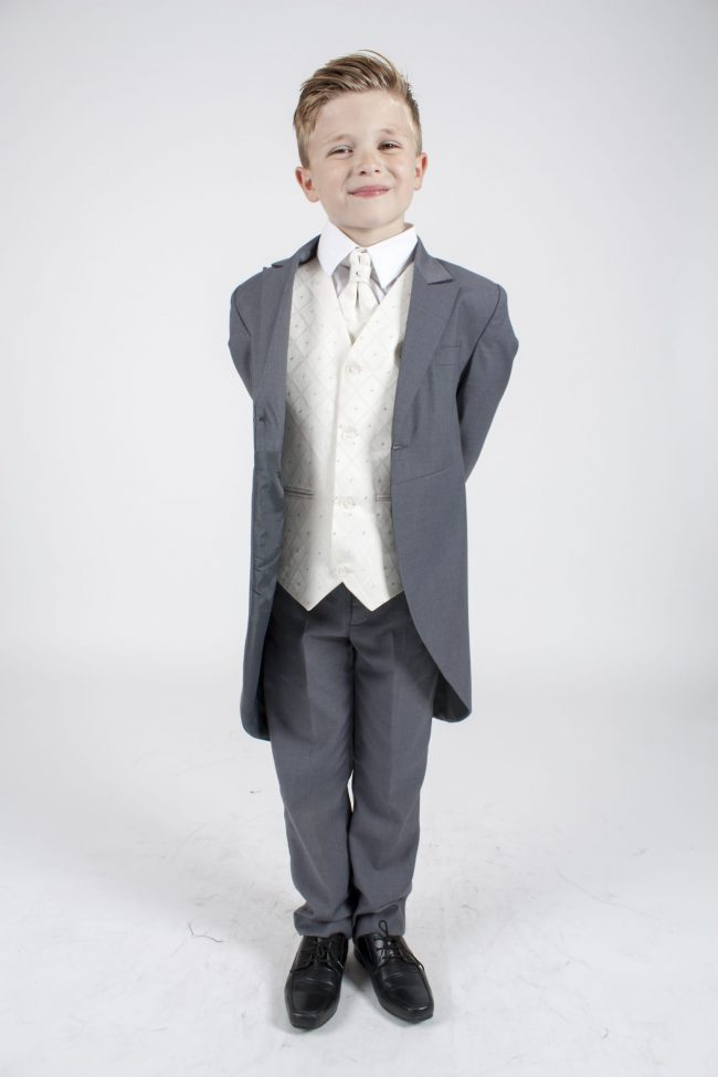 5 piece grey/cream Dobby tailcoat -0