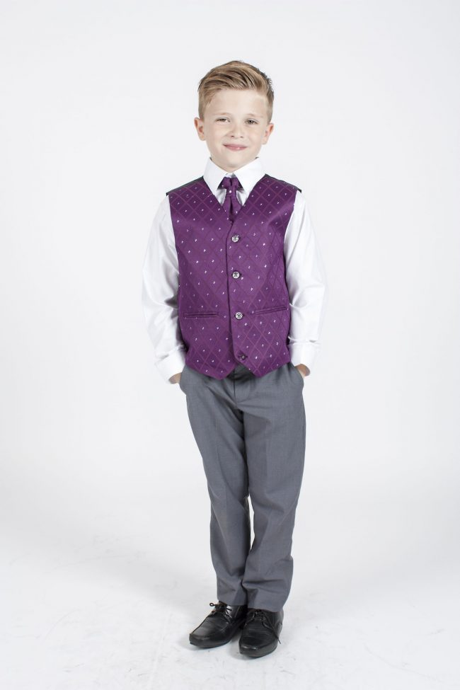 5 piece grey/purple dobby tailcoat -1375