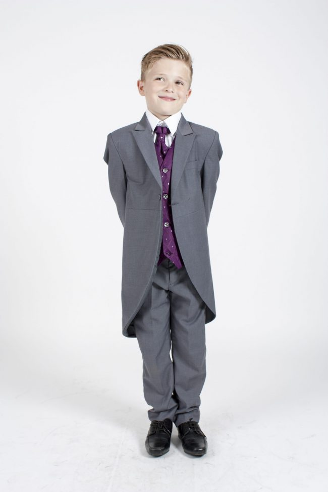 5 piece grey/purple dobby tailcoat -1376