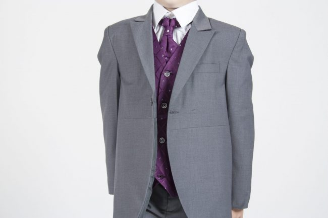 5 piece grey/purple dobby tailcoat -1381