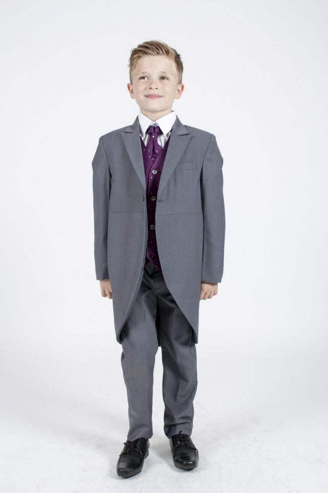 5 piece grey/purple dobby tailcoat -0