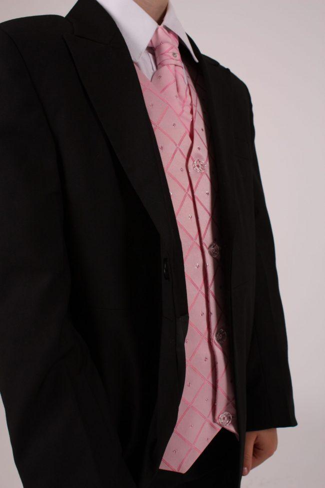 5 piece black/ pink dobby -1410