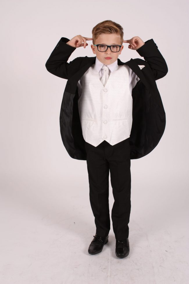 5 Piece black/ ivory diamond tailcoat -1399