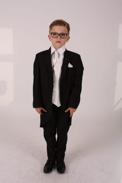 5 Piece black/ ivory diamond tailcoat -0