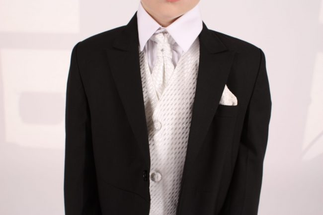 5 Piece black/ ivory diamond tailcoat -1402