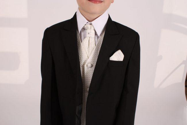 5 piece black/ cream diamond tailcoat -1394