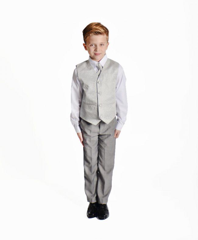 Boys 4 Piece Silver Swirl Suit-1460