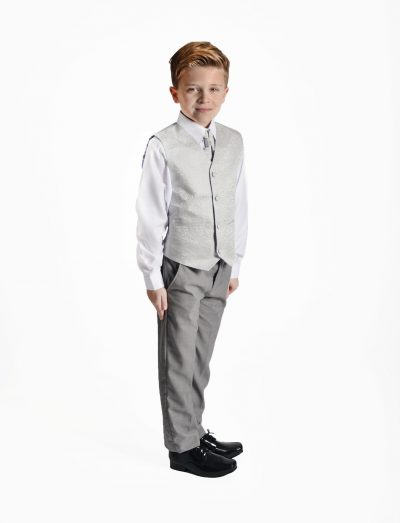 Boys 4 Piece Silver Swirl Suit-0