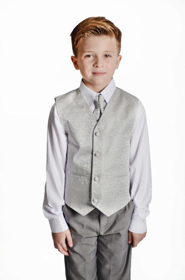 Boys 4 Piece Silver Swirl Suit-1461
