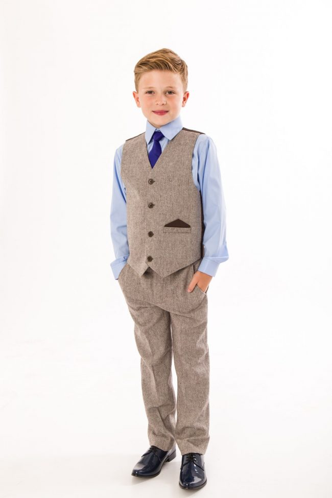 4 Piece boys Herringbone Brown suit -0