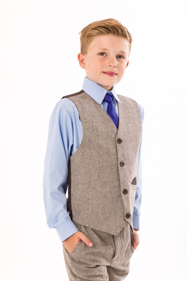 4 Piece boys Herringbone Brown suit -1416