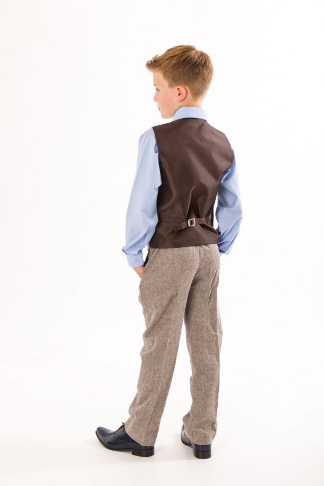4 Piece boys Herringbone Brown suit -1418