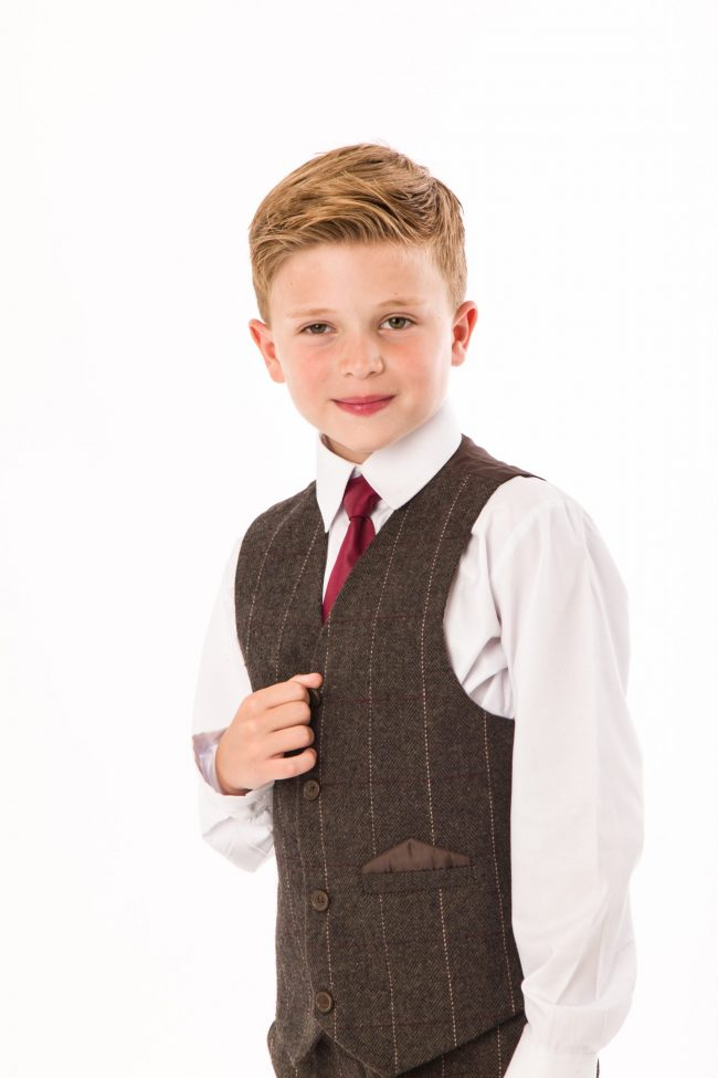 4 Piece Brown boys tweed suit-1423