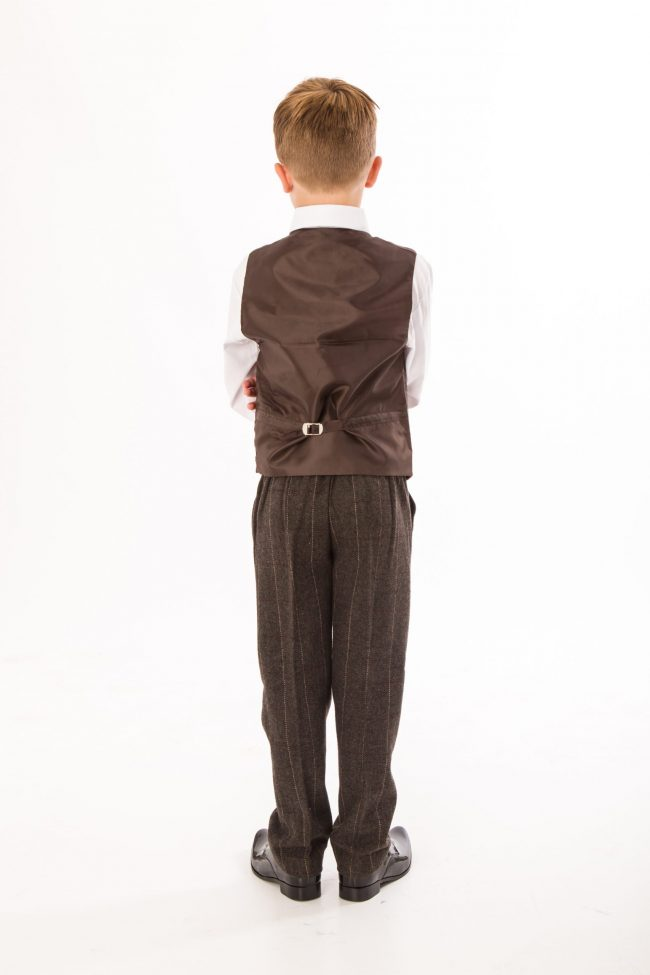 4 Piece Brown boys tweed suit-1422