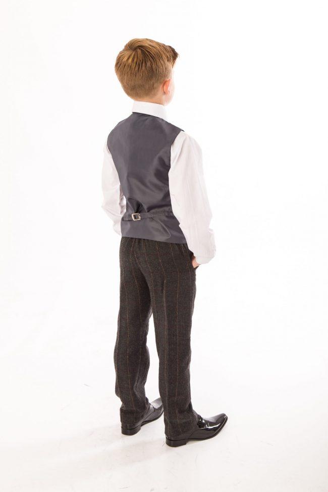 4 piece boys grey check tweed -1427