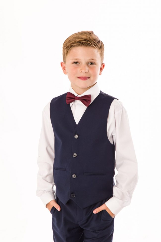 BOYS 4 PIECE NAVY SHORTS SET SUIT WITH BOW TIE-1444