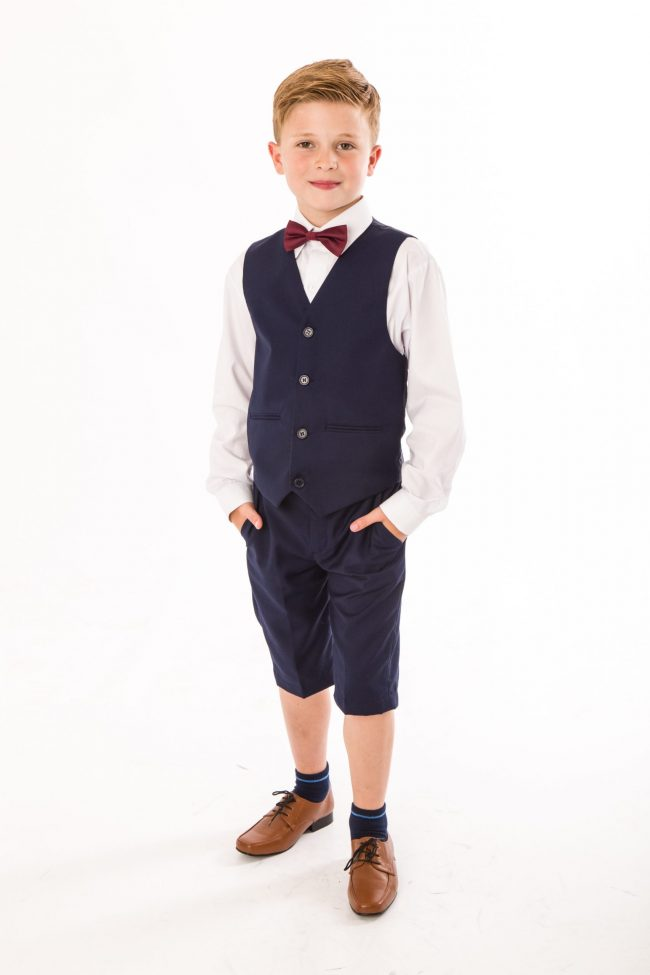 BOYS 4 PIECE NAVY SHORTS SET SUIT WITH BOW TIE-0