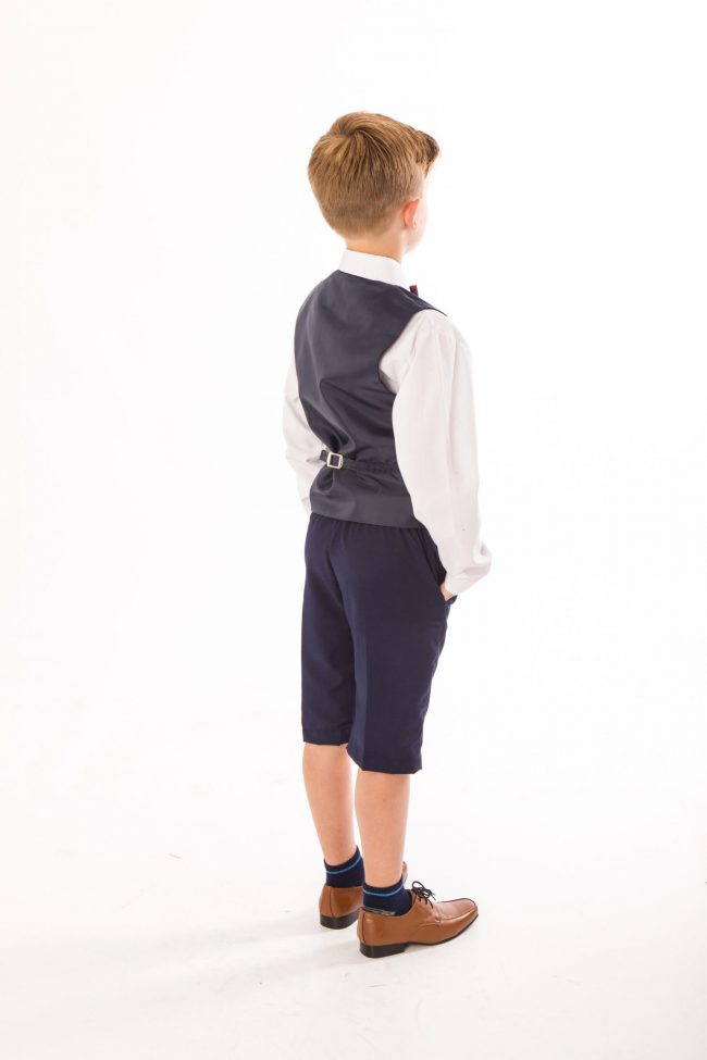 BOYS 4 PIECE NAVY SHORTS SET SUIT WITH BOW TIE-1443