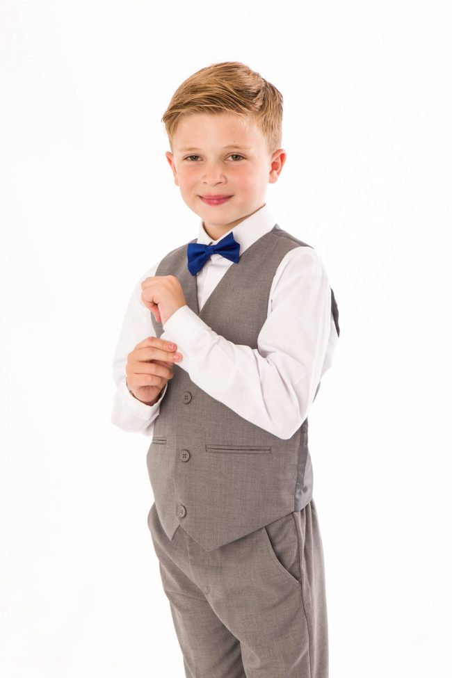 BOYS 4 PIECE GREY SHORTS SET SUIT WITH BOW TIE-1450