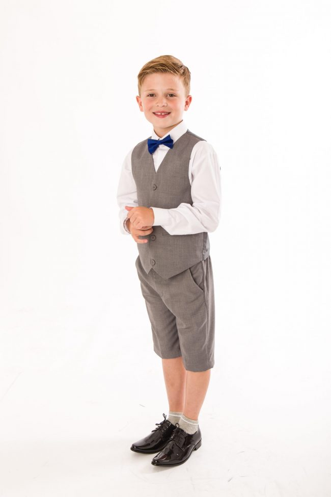 BOYS 4 PIECE GREY SHORTS SET SUIT WITH BOW TIE-0