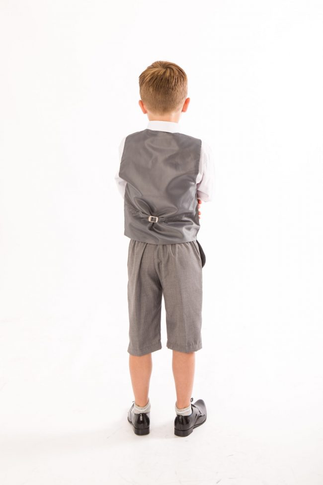 BOYS 4 PIECE GREY SHORTS SET SUIT WITH BOW TIE-1449