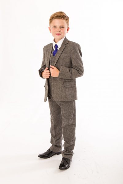 5 PIECE BOYS HERRINGBONE GREY SUIT-0