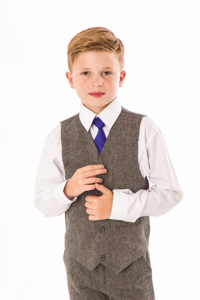 4 Piece boys Grey Herringbone suit-1420