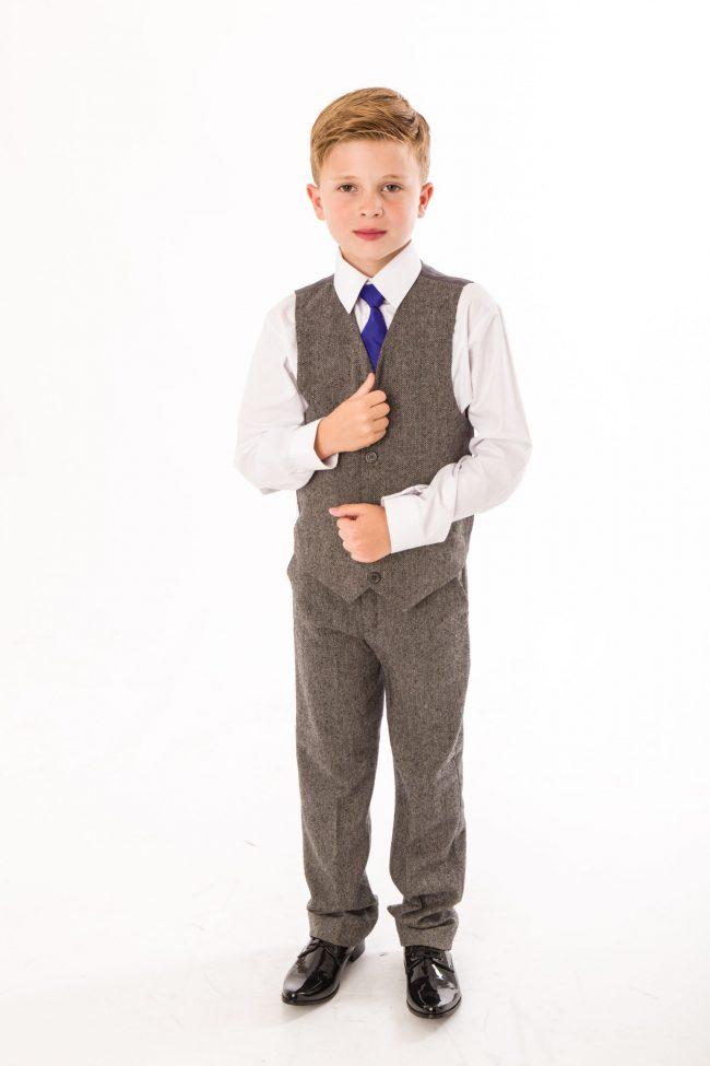 4 Piece boys Grey Herringbone suit-0