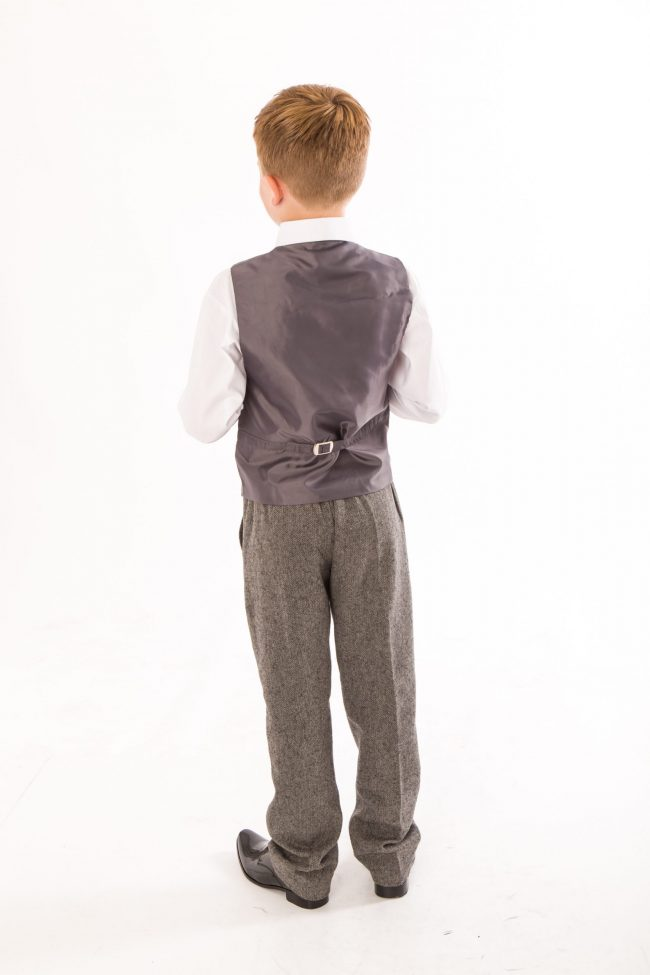 4 Piece boys Grey Herringbone suit-1419